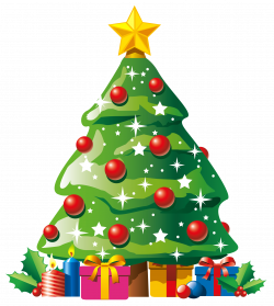 Transparent Deco Christmas Tree with Gifts Clipart   Navidad ...