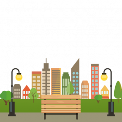 Colorful Building City With Bench Vector PNG, City With Benches ...