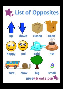 List Opposites for Preschoolers Printable Worksheets | Opposites ...