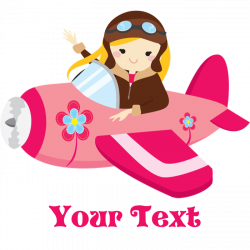 Pink Airplane, Girl Pilot with flowers Journal by ClipArtMEGAmart