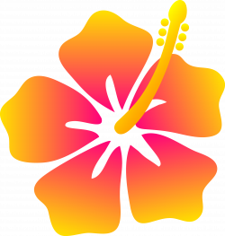 Hawaiian Flower Clip Art | Pink and Yellow Hibiscus Flower - Free ...