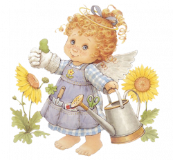 Cute Angel Gardener with Watering Can Free PNG Clipart | Gallery ...