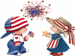 fourth of july pictures clip art | little boy and girl in American ...
