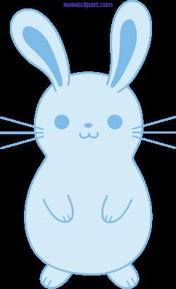 Cute Blue Easter Bunny Rabbit Clipart - Sweet Clip Art