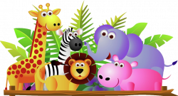 Giraffe Lion Zebra And Elephant Jungle Cartoon Picture | desenhos ...