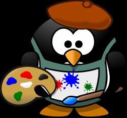 Clipart - Painter penguin