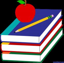 Books Apple and Pencil Clip Art - Sweet Clip Art