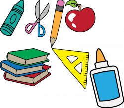 ♔ BACK TO SCHOOL CRAYON SCISSORS PENCIL RULER APPLE BOOKS GLUE ...