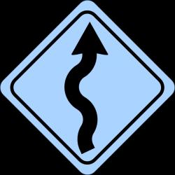 Blue Curvy Road Ahead Sign Clip Art at Clker.com - vector clip art ...