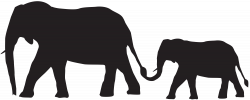 Mother and Baby Elephants Silhouette PNG Clip Art Image | Gallery ...