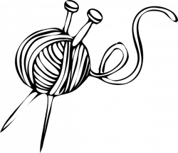 White Yarn Ball With Knitting Needles Clip Art at Clker.com - vector ...
