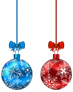 Blue and Red Hanging Christmas Balls PNG Clip-Art Image | Gallery ...