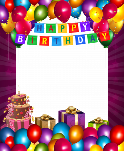 Happy Birthday with Balloons Transparent PNG Frame | Gallery ...
