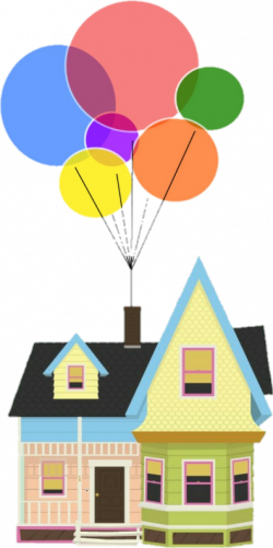 up movie pixar colorful rainbow home house balloons fam...