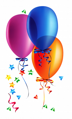 Transparent Balloons with Confetti Clipart   Gallery Yopriceville ...