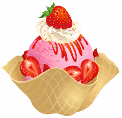 Transparent Strawberry Ice Cream Waffle Basket PNG Picture | Clip ...