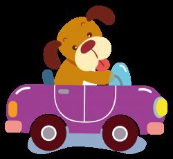 Cartoon Purple Clip art - Hand-painted purple cartoon dog driving a ...