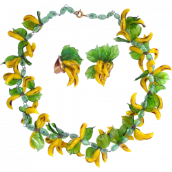 Vintage Italian Glass Banana Fruit Necklace and Earring Set SOLD ...