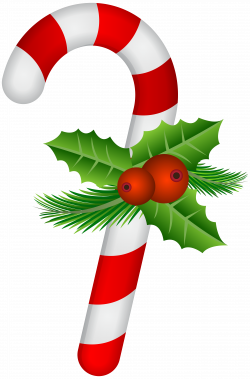 Candy Cane with Holly Transparent PNG Clip Art | Gallery ...
