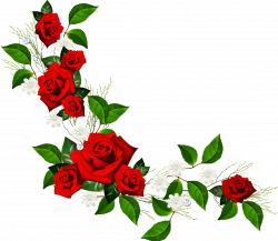 Decorative Element with Red Roses White Flowers and Hearts with ...