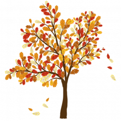 Colorful Clip Art For The Fall Season: Tree With Falling Leaves ...