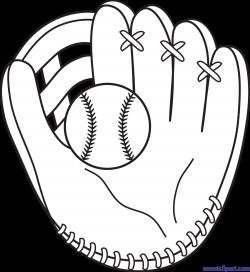 Baseball Mitt Lineart Clip Art - Sweet Clip Art