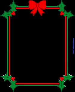 Christmas Border Frame Holly Ribbon Clip Art - Sweet Clip Art