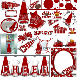 Red Cheer Pom Poms Clipart