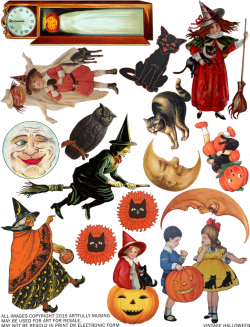 Artfully Musing: FREE VINTAGE HALLOWEEN COLLAGE SHEET - HAPPY ...