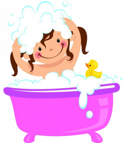 Bathing Bathtub Bubble bath Clip art - A girl with a bath and a ...