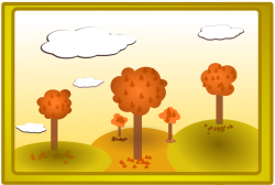 Public Domain Clip Art Image | Illustration of an autumn landscape ...