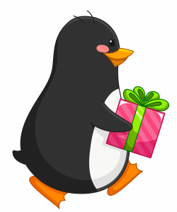 Transparent Penguin with Gift PNG Clipart | Gallery Yopriceville ...