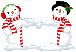 Two Snowman Decor PNG Clipart Image   Gallery Yopriceville - High ...