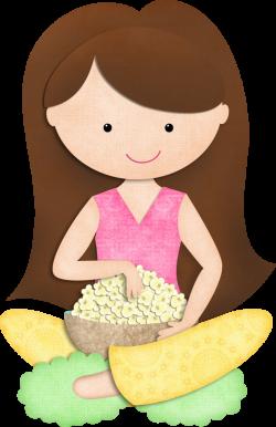 KMILL_auburnhair-popcorn.png | Pinterest | Clip art, Girls and Girl ...