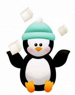 Penguins and Flowers of the Winter Clip Art.   Oh My Fiesta! in english