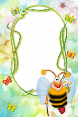 Cute Kids Transparent Photo Frame with Bee | Gallery Yopriceville ...