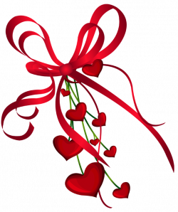 Valentines Day Hearts Decor with Red Bow PNG Clipart | CLIPART ...