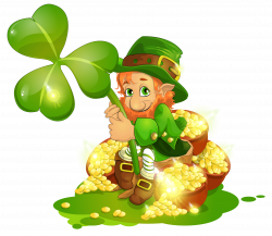 Saint Patricks Day Leprechaun with pot of Gold and Shamrock ...