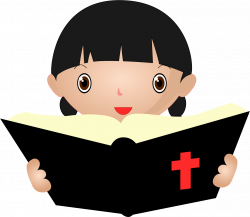 Clipart - Girl Studying Bible