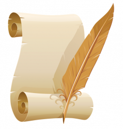 Scrolled Paper and Quill Pen PNG Clipart Image | Clip art ...