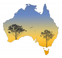 Silhouette Australia Landscape - Gum Trees Sunset - Rooweb Clipart