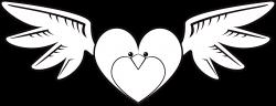 Clipart - Heart Bird Line Art