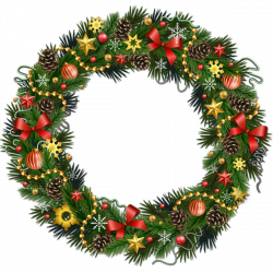 Transparent Christmas Pinecone Wreath with Ornaments Clipart ...