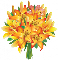 Yellow Lilies Flowers Bouquet PNG Clipart Image   Flowers Clipart ...