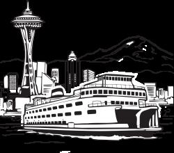 Space Needle Smith Tower Seattleu2013Bainbridge ferry Clip art - Sea ...