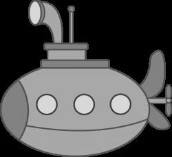 Cute Silver Submarine - Free Clip Art