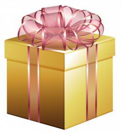 Large Gold Gift Box with Pink Bow | Clipart | Pinterest | Gold gift ...