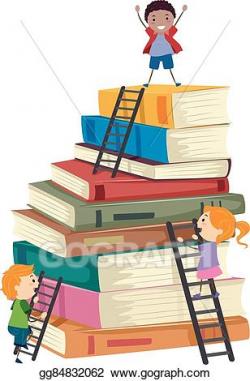 Vector Art - Stickman kids book stack ladders climb. Clipart ...
