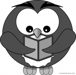 Owl with Book Animal free black white clipart images clipartblack ...