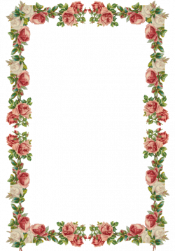 Free digital vintage rose frame and border png - Rosenrahmen ...